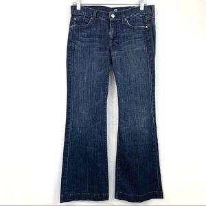 7FAM Dojo Wide Leg Dark Wash Jeans Size 28